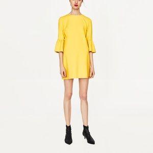 Zara Dresses - NWT Zara Yellow Frilled Bell Sleeve Mini Dress 6e1284d17